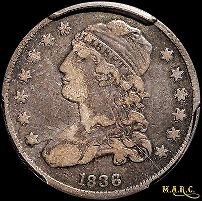 1836 VF25 PCGS 25C Capped Bust Quarter with normal toning, Nice Coin! CAC agrees