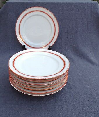 8 assiettes plates en porcelaine de paris décor vintage orange et blanc lot 1