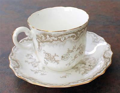 RARE Antique 1875-1892 BODLEY HADLEY England Gray Floral Pattern Cup & Saucer