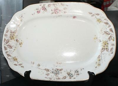 "Antique 1891 WOOD & SON Ironstone MAYFLOWER Pattern #143322 11 1/4"" L Oval Plate"