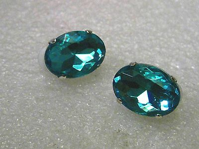 "Silver tone Teal Rhinestone Clip Earrings, 3/4"" long, 1/2"" wide, OVAL"