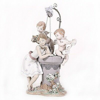 """Lladro #1882 """"May My Wish Come True"""" Young Girl at Wishing Well Rare! Retired!"""