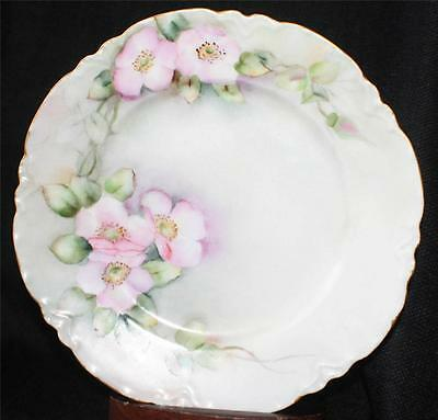 """Antique HAVILAND LIMOGES Hand Painted PINK FLOWERS 8 1/2"""" Salad Plate Signed A B"""