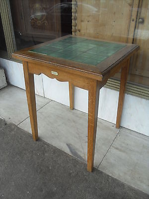 Small Edwardian Antique Oak Pub Table / Square Antique Table With Tiled Top