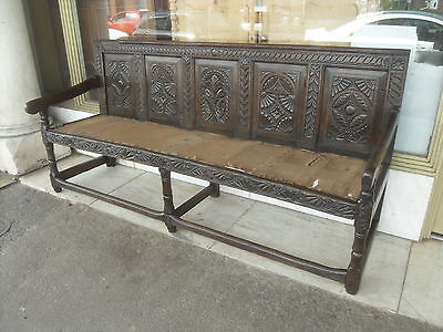 Victorian Antique Oak Bench / Settle  Elements Of Earlier Pieces Pre1800 Design