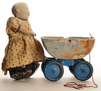 Antique Black Americana Aunt Jemima Mammy & Carriage Composition Doll Pull Toy