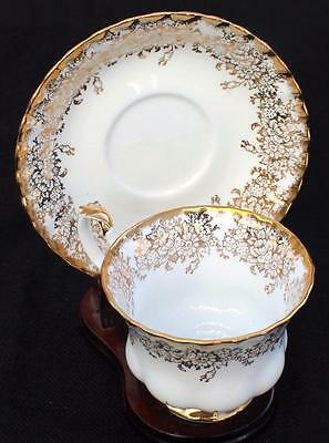 Vintage ROYAL ALBERT Bone China England Gold Guided Decor Set Cup & Saucer