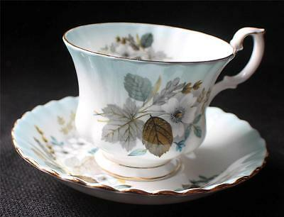 Vintage ROYAL ALBERT Bone China England Blue RADIANCE Series Footed Cup & Saucer