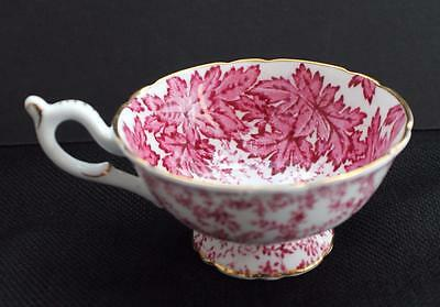 Vintage COALPORT Bone China England Pink LEAVES & FERNS Pattern #9471 Footed Cup