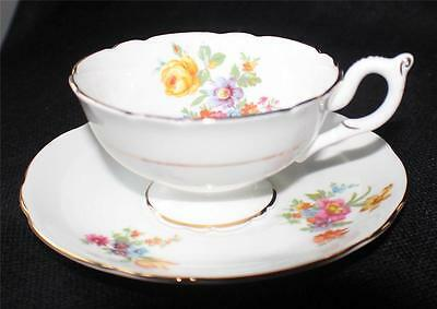 Vintage COALPORT Bone China England FLORAL Pattern #76 Set Footed Cup & Saucer
