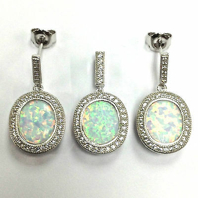 Beautiful Art Deco Style White Fire Gilson Opal Set Pendant Earrings Silver 925