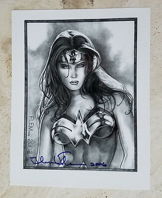 Wonder Woman B/W ART PRINT! signed by Tom FLEMing