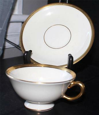 "Vintage LENOX Bone China TUXEDO Pattern 2 1/8""h Footed Cup & Saucer Set"