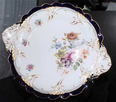 "Anq OVINGTON BROS T&V Limoges Cobalt Blue Multi FLORAL Handled 9"" Plate#615/6000"