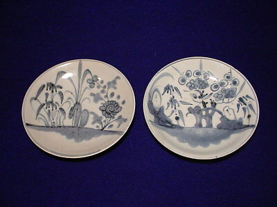 Lovely Hand Painted PAIR of Antique Chinese Blue & White Porcelain  PLATES, Sgd.