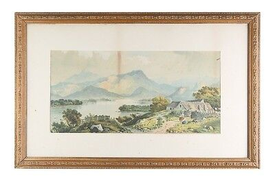 """""""Untitled"""" (Lakeside Cottage) Lithograph by Edwin A Penley, Framed 28x18"""""""