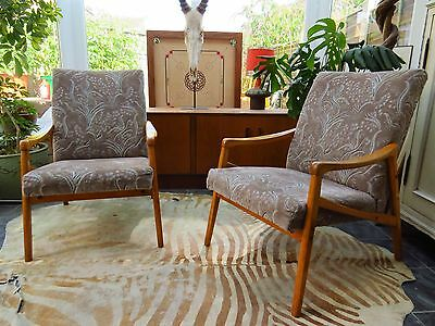 A Pair Of Vintage East German / Danish Style Lounge Armchairs C1970 Au16/8