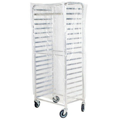 "NEW 63"" Clear 8 Mil Full-Size Plastic Bun Pan Rack Cover with 3 Zippers"