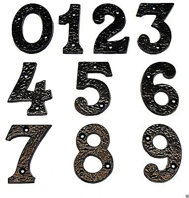"""Thick Black Wrought Cast Iron Antique Door Numbers 3""""-77mm x 1/4""""-6mm House/Home"""