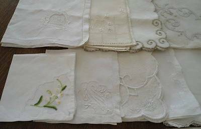 Vintage Lot of 21 Linen Napkins Embroidered Madeira Lace Organdy Sets Single