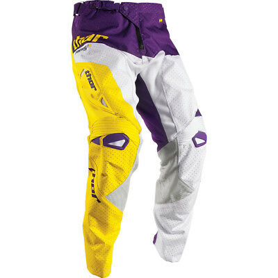 Thor 2017 Mx Gear NEW Fuse AIR Pinin Vented White Yellow Purple Motocross Pants