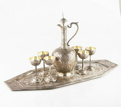 Vintage Persian Hand Ingraved 800 Silver Set of Pitcher, Goblets & Tray