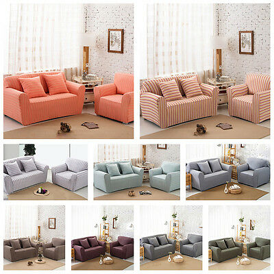 Home Decor High Elasticity Striped 1/2/3/4 Seater Sofa Covers Settee Slipcovers