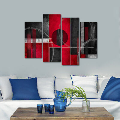 Modern Abstract Canvas Art Print Home Decor Wall Painting Red Black Framed