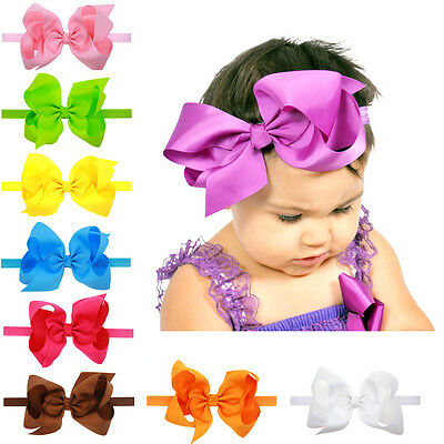 6 Inch Large Hairbow Baby Girls Hair Bows Grosgrain Ribbon Elastic Band Headband