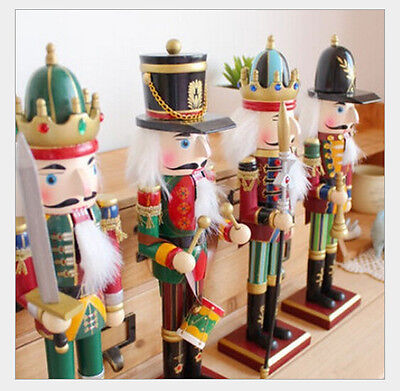 Set of 4 CHRISTMAS Decoration WOODEN SOLDIER PRINCE NUTCRACKER & CROWN 12 INCH