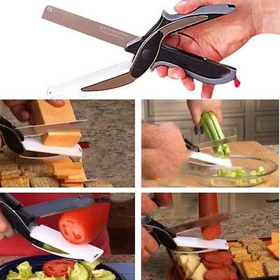 Home Clever Cutter 2-in-1 Knife Cutting Board Scissors Tool Bread Free Peeler