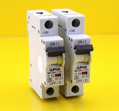 Clipsal MCB4-110  Miniature Circuit Breaker MCB 240VAC 10A Single Phase (2 Pack)