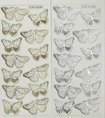BUTTERFLIES Type 1 Double Embossed Clear PEEL OFF STICKERS Butterfly Cardmaking
