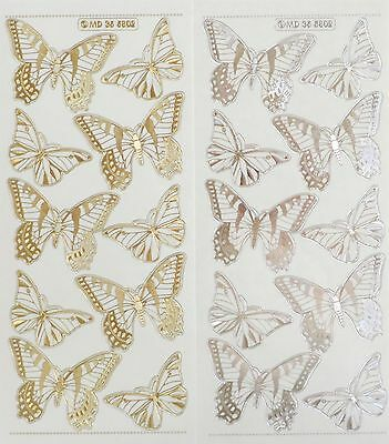 BUTTERFLIES Type 2 Double Embossed Clear PEEL OFF STICKERS Butterfly Cardmaking