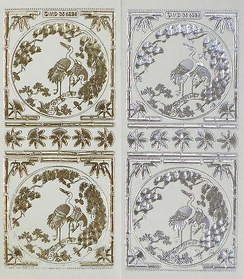 ORIENTAL Cranes Birds Corners Embossed Clear PEEL OFF STICKERS Cardmaking