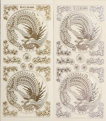 ORIENTAL Birds Corners Embossed Clear PEEL OFF STICKERS Cardmaking