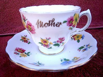 "Vintage  Royal  Vale  Cup And Saucer Floral Inscribed  "" Mother"""