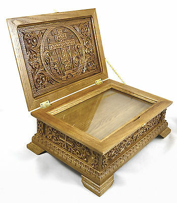 Large Russian Orthodox Reliquary box Oak Unique Wood Carving church supplies alb