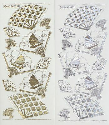 ORIENTAL FANS Embossed Clear PEEL OFF STICKERS Cardmaking