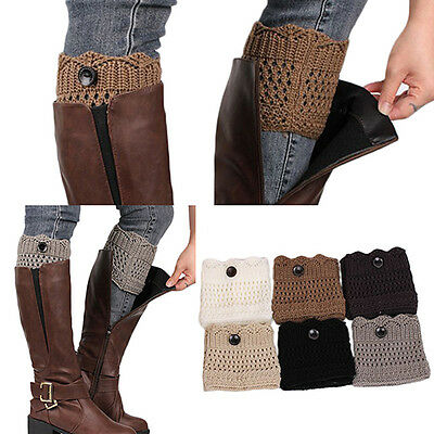 Women Winter Leg Warmers Button Crochet Knit Boot Socks Toppers Cuffs Popular