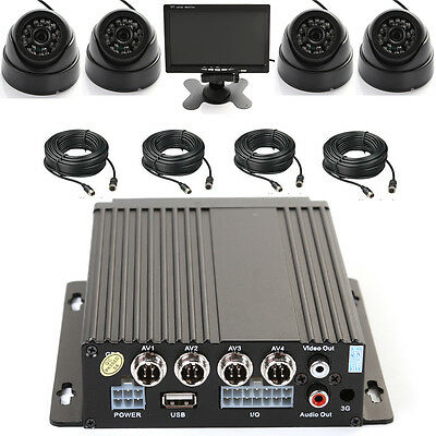 """4 Channel Car Bus IR Mobile DVR SD Card Recorder + 4 Camera + 7"""" LCD Screen Set"""