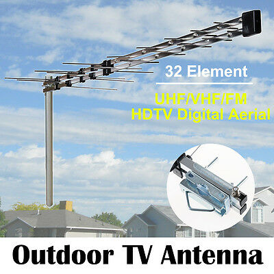 OZ TV Antenna 32 Element Log Periodic Outdoor Aerial UHF VHF FM HDTV Digital New
