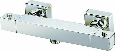 New Modern Chrome Thermostatic Bar Mixer Shower Exposed Valve Square