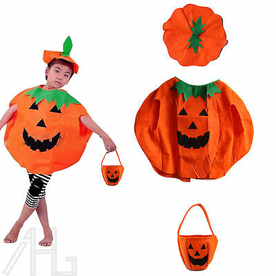 Adult Kids Pumpkin Fancy Dress Costume Cosplay Halloween Party Funny Outfit UK