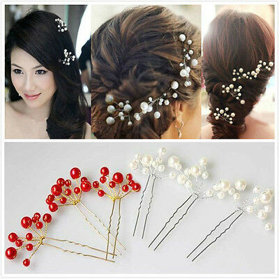 3Pcs Lot Bridal Bridesmaid Faux Pearl Hairpins Handmade Wedding Hair Accessories