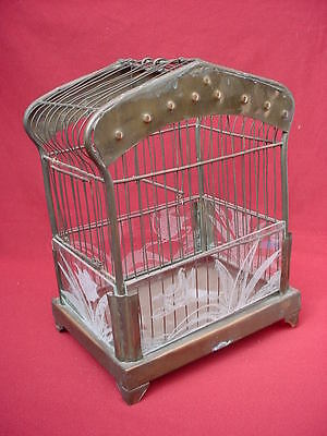 Antique  BRASS BIRD CAGE  with FOUR Etched Glass Panels.