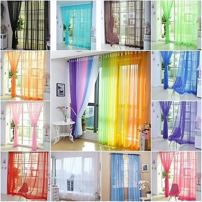 Colorful Floral Tulle Voile Door Window Curtain Drape Panel Sheer Scarf Divider