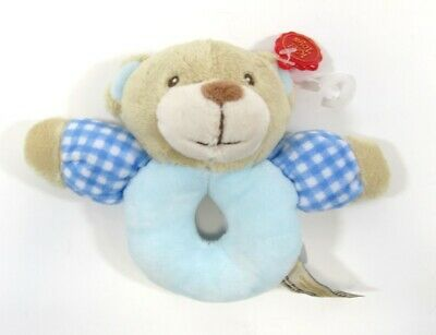 Baby Babies Boys Girls Rattle Soft Push Ring Cuddle Toy Toys Puppy Dog Blue Pink