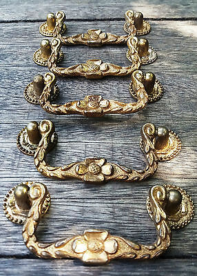 5 Matching Decorative Floral Vintage Door/Drawer/Cupboard - Pull Handles