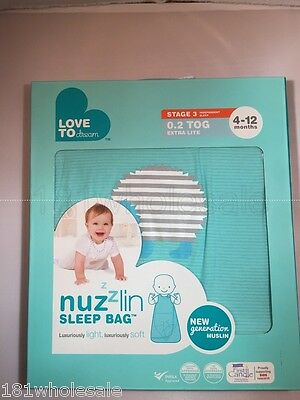 ❤ Nuzzlin Love to Dream 0.2 TOG Cool Summer Cotton Baby Sleeping Bag Childrens ❤